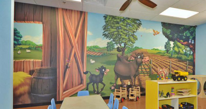 Farm & Country Barn Themed Wall Covering at My Small Wonders Day Care