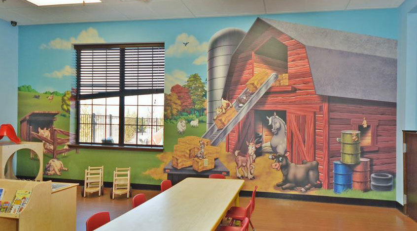 Farm and Country Themed Wall Covering at My Small Wonders Daycare