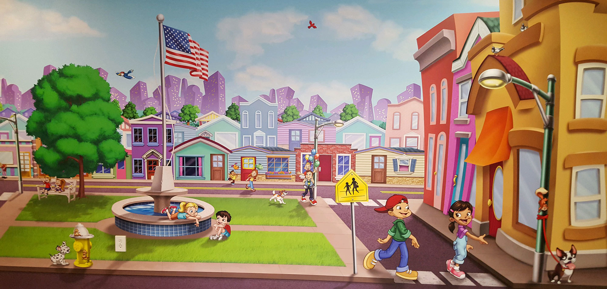 Toon Town Themed Wall Covering at London Bridge Baptist Church