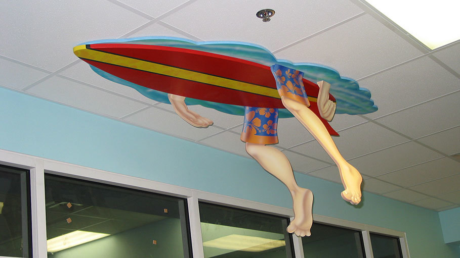 2D Cutouts of Surfboard and Surfer Legs and Arms