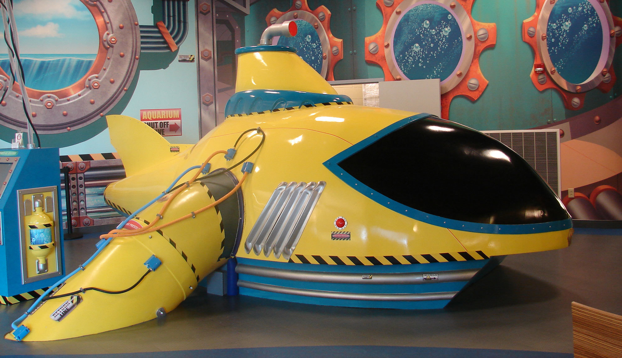 3D Sculpted Yellow Submarine in Undersea Themed Space
