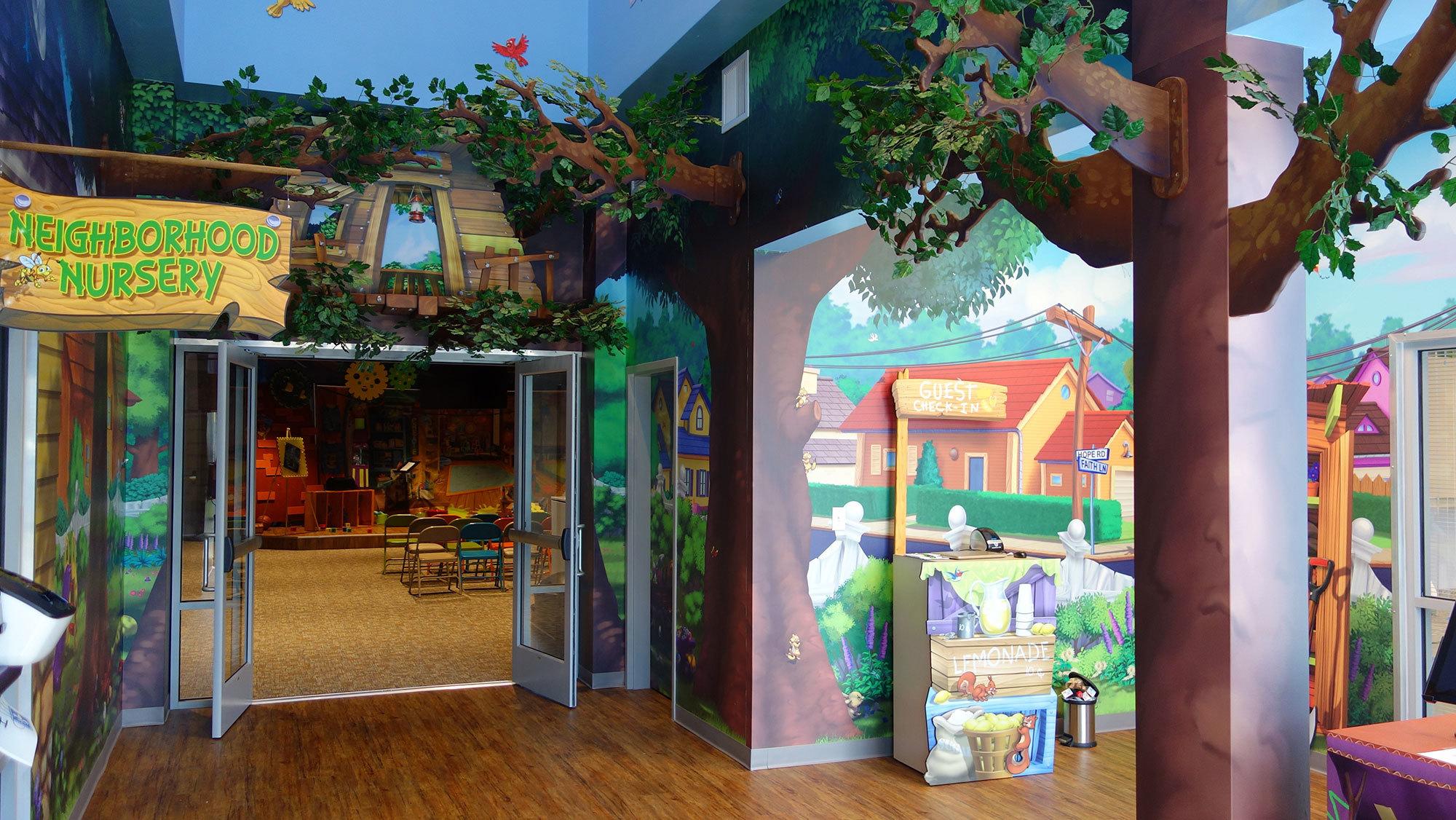 Neighborhood Backyard & Treehouse Themed Space at Avalon Church