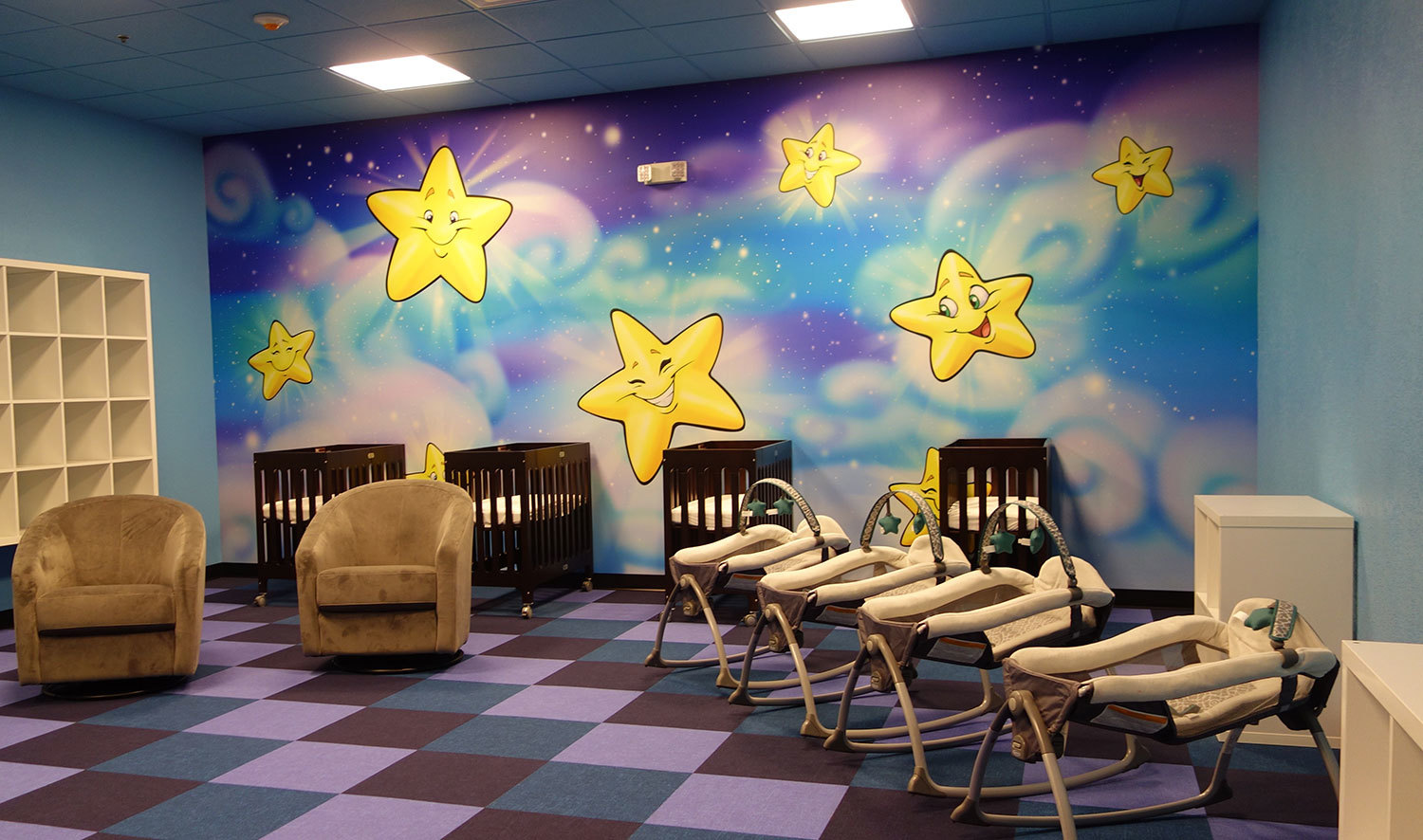 Heavenly Skies and Stars Wall Covering in Nursery at Choose Life Church