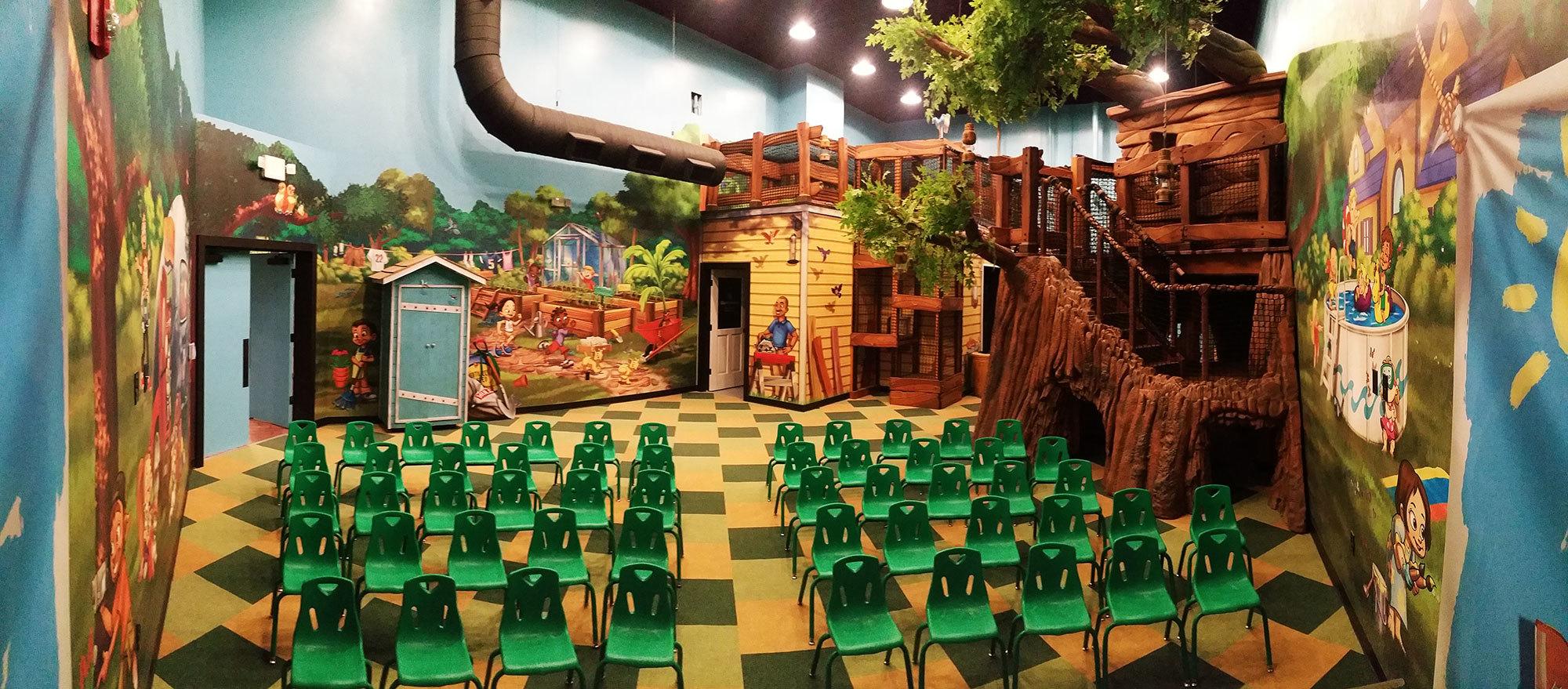 Backyard Neighborhood Treehouse Themed Environment at Choose Life Church