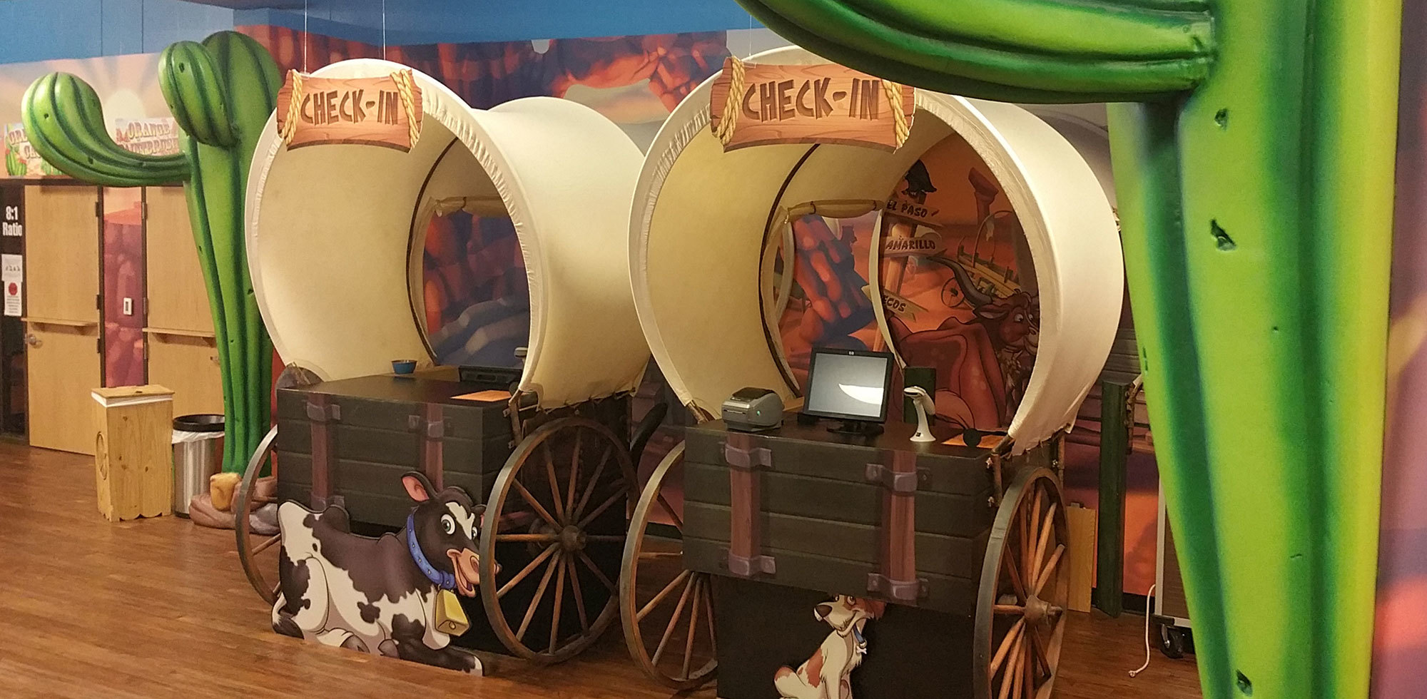 Old West Western  Themed Check In Desk at Crossroads TX