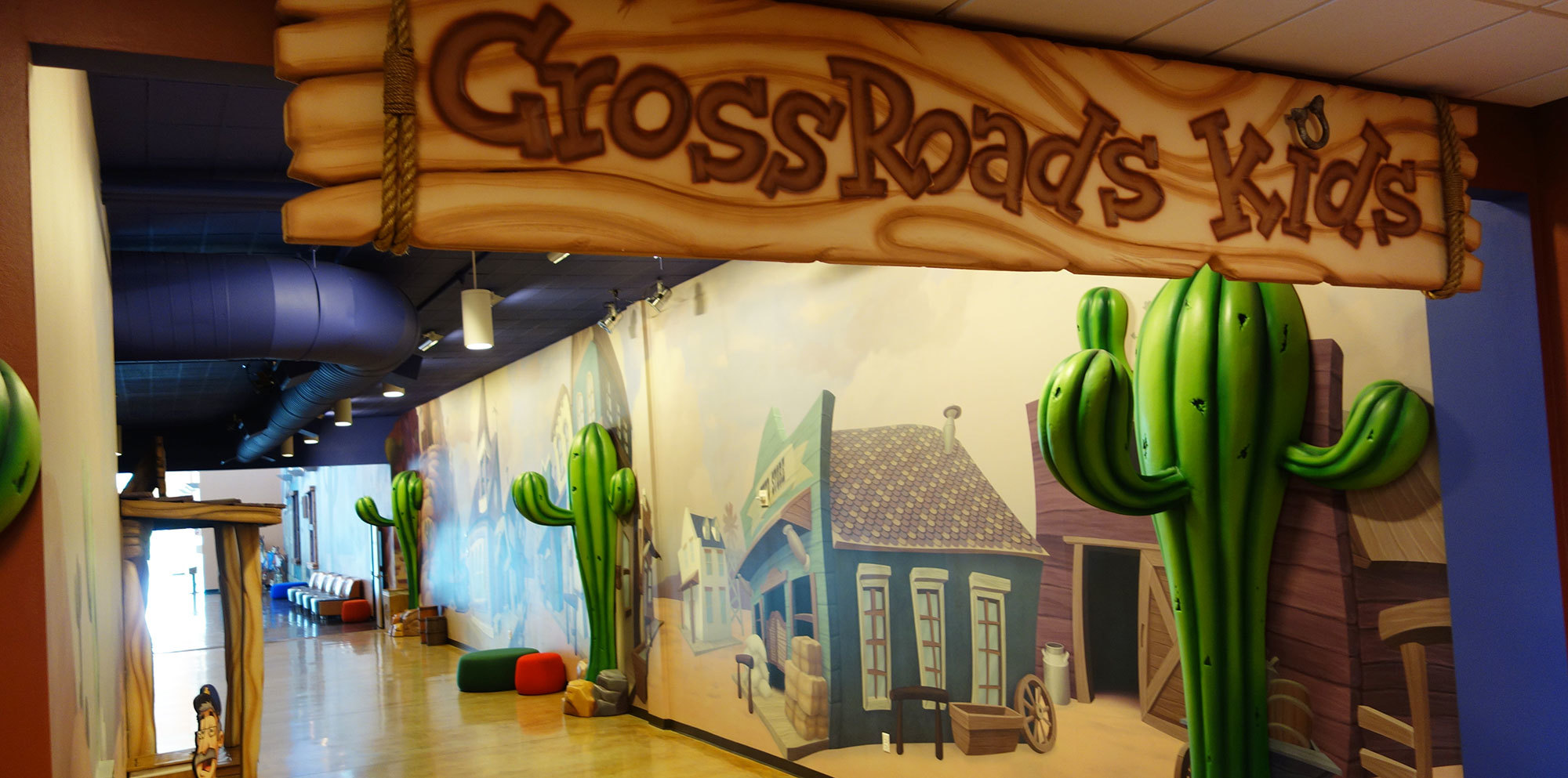 Old West Western Themed Space and Sign at Crossroads Church TX
