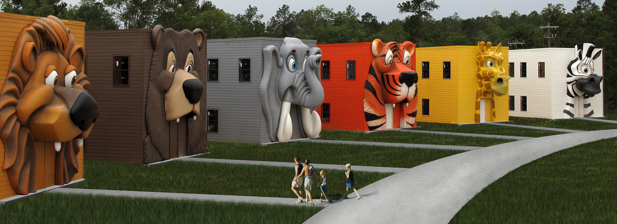 Giant Animal Face Camp Cabin Fascades at Carolina Creek Christian Camp