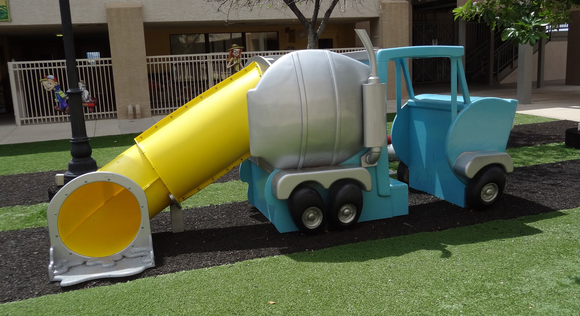 Dumptruck Themed Play Feature in Big City Themed Play Area at Casas Church