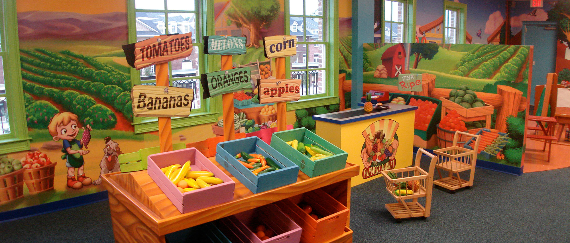 Neighborhood Farmers Market Themed Play Space at Imaginations at Play