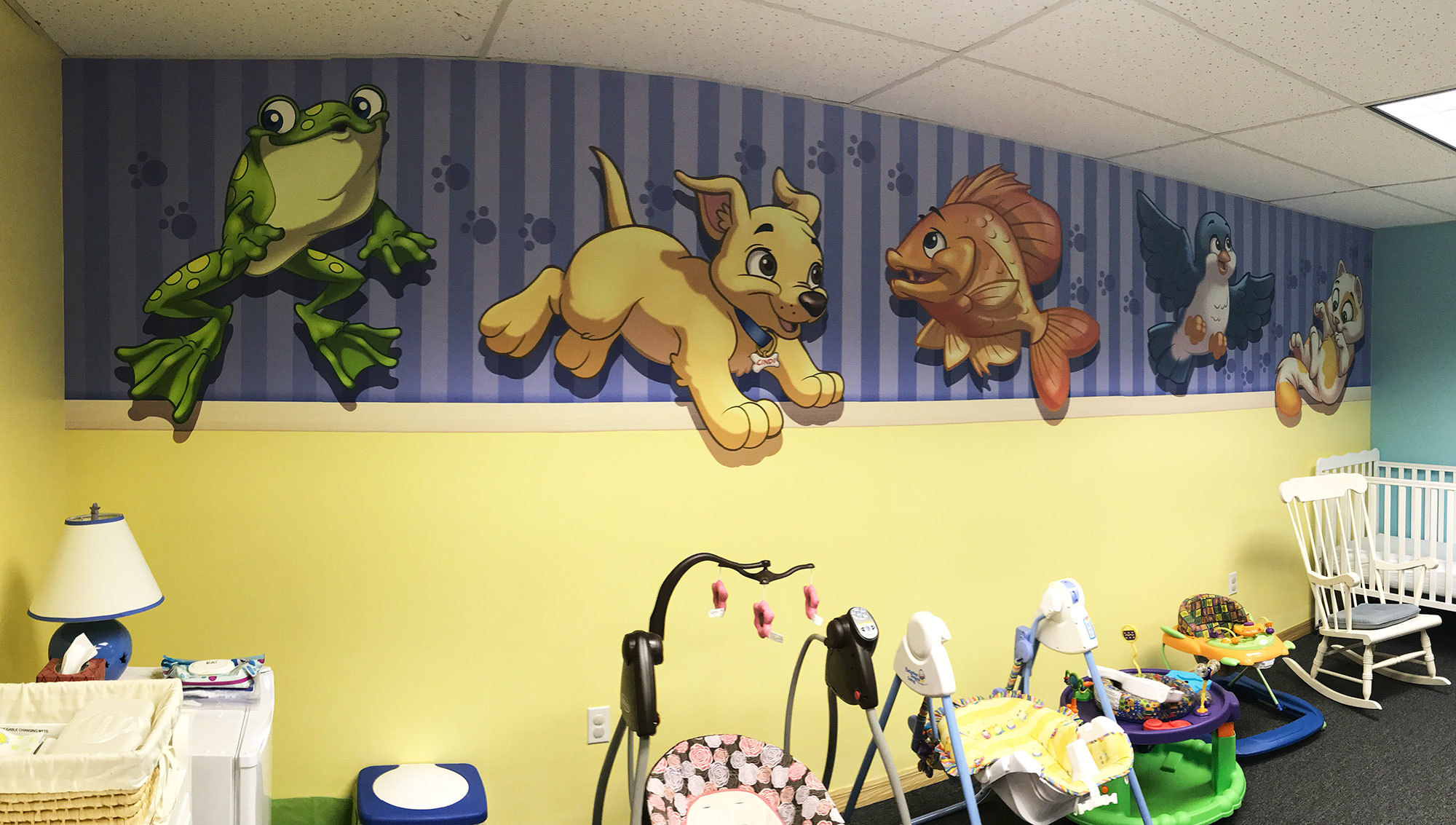 Baby Animals Themed Wall Covering for Nursery at North Dunedin Baptist Church