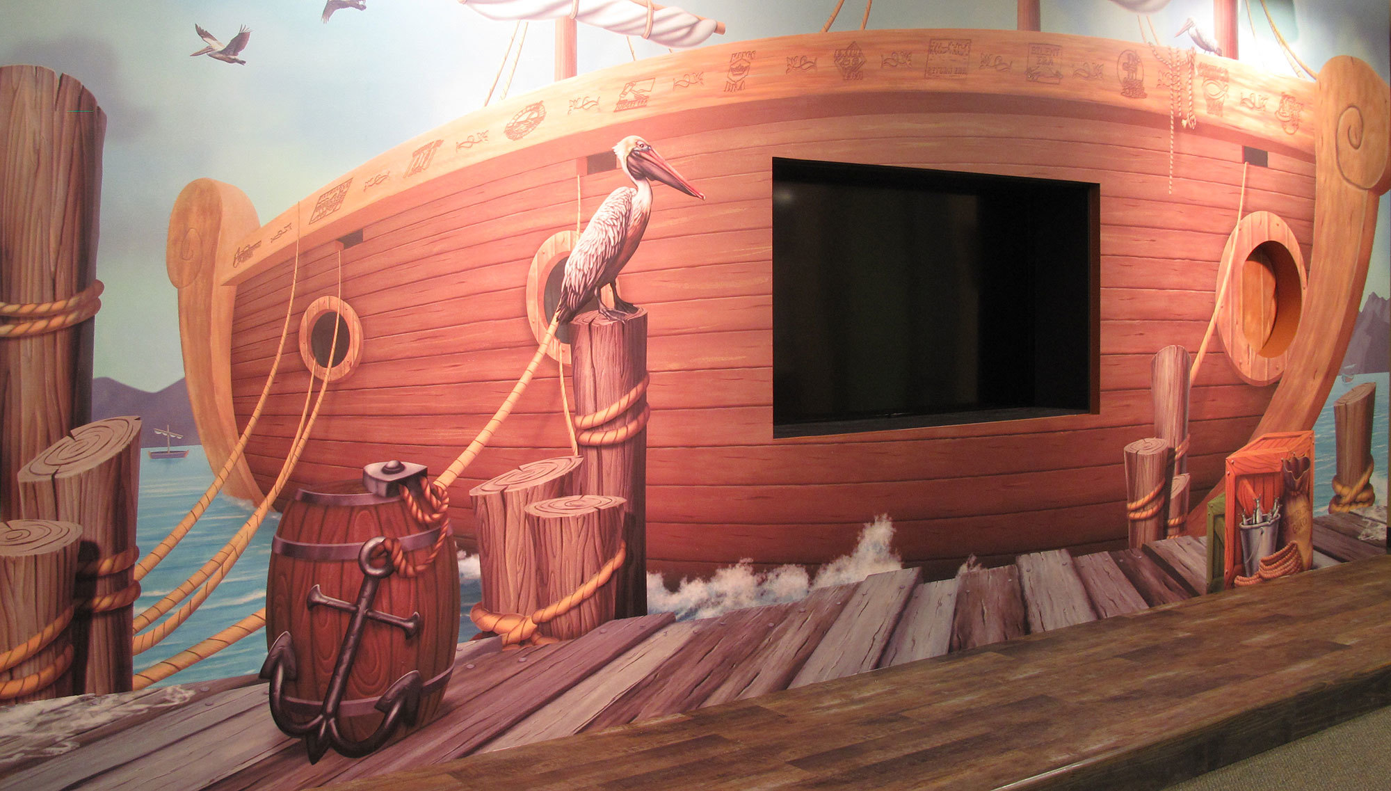 Shipping Dock Themed Wall Covering Stage Backdrop at Stonebridge Church