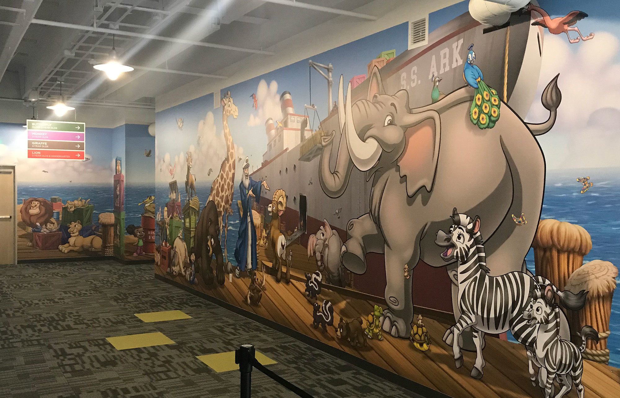 Modern Day Noah's Ark Themed Wall Covering at Crosspoint Anaheim