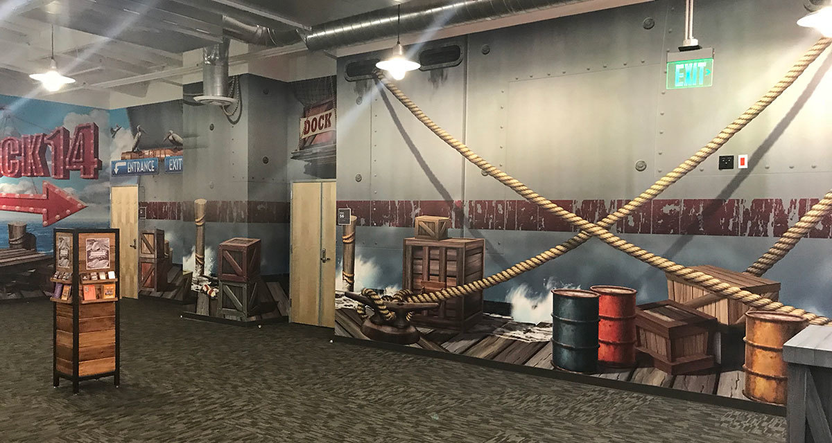 Shipping Dock Themed Wall Covering at Crosspointe Anaheim