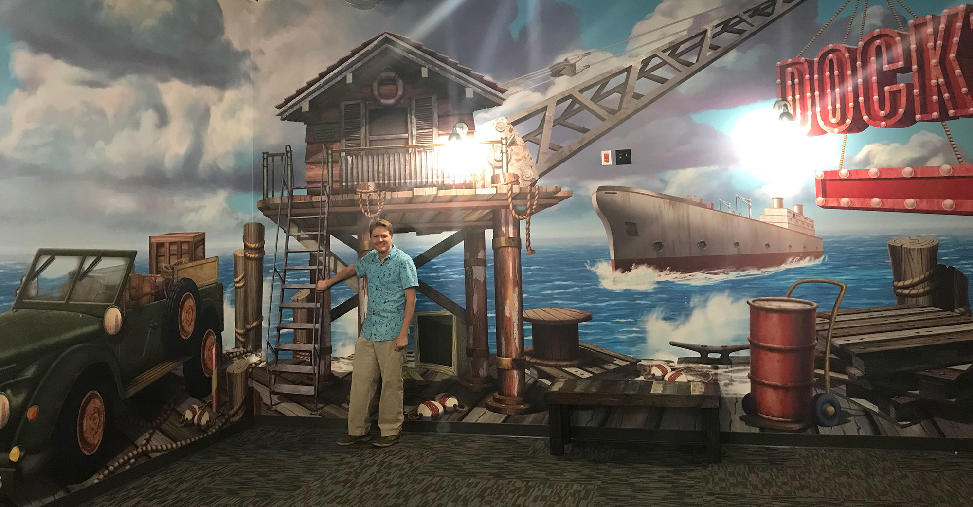 Shipping Dock Themed Wall Covering at Crosspoint Anaheim