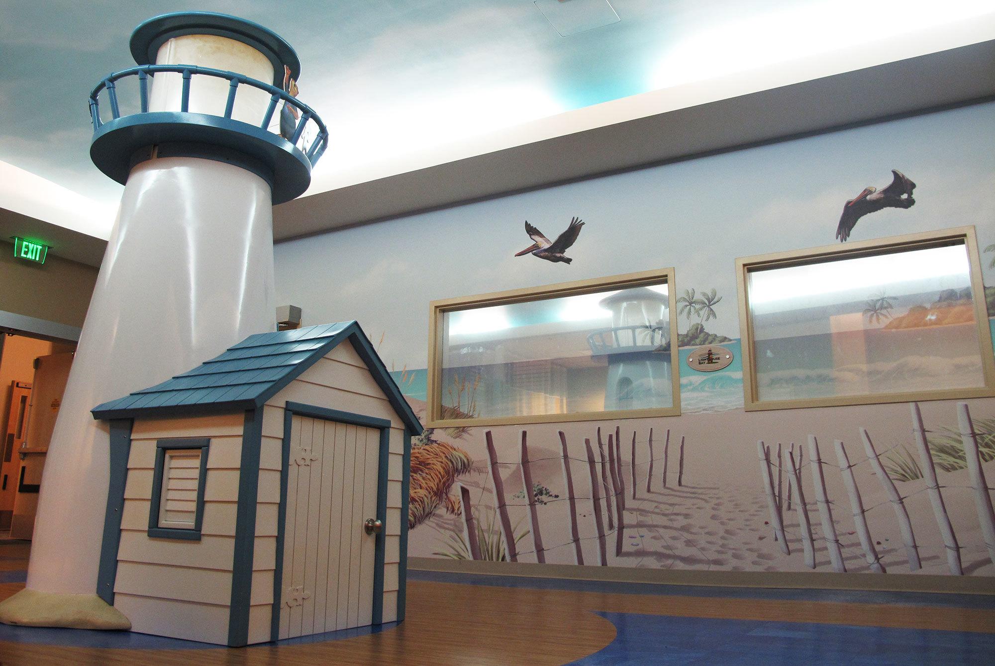 Lighthouse and Beach Themed Space at Celebration Health Florida Hospital