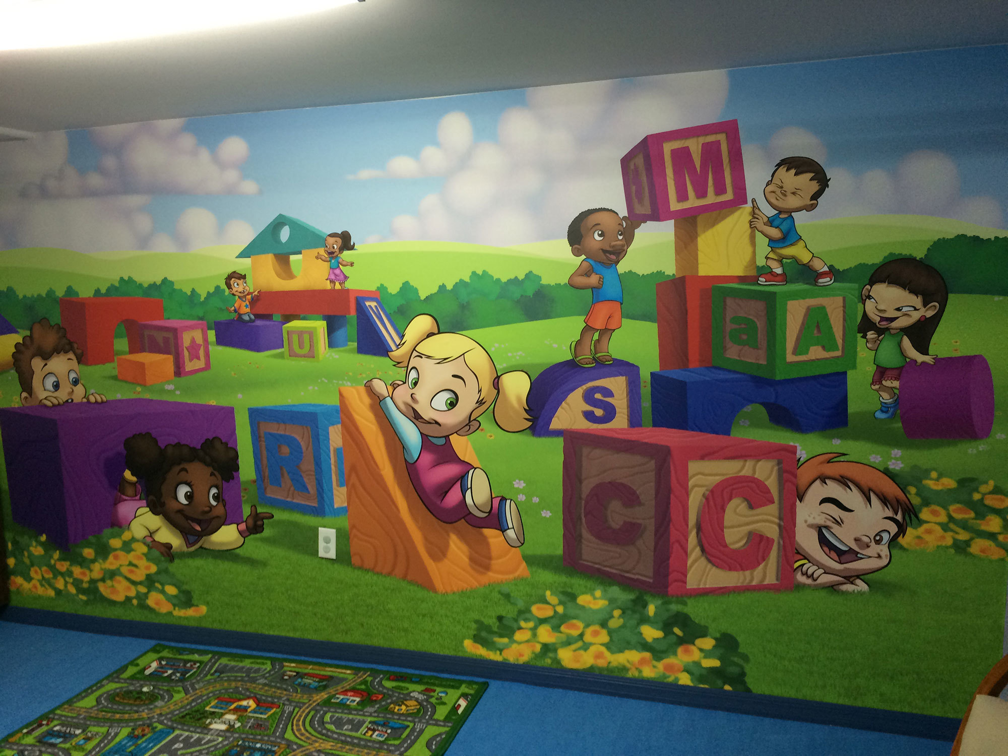 Baby Builders and Toddlers with Big Blocks Themed Wall Covering at Relevant Church Tampa