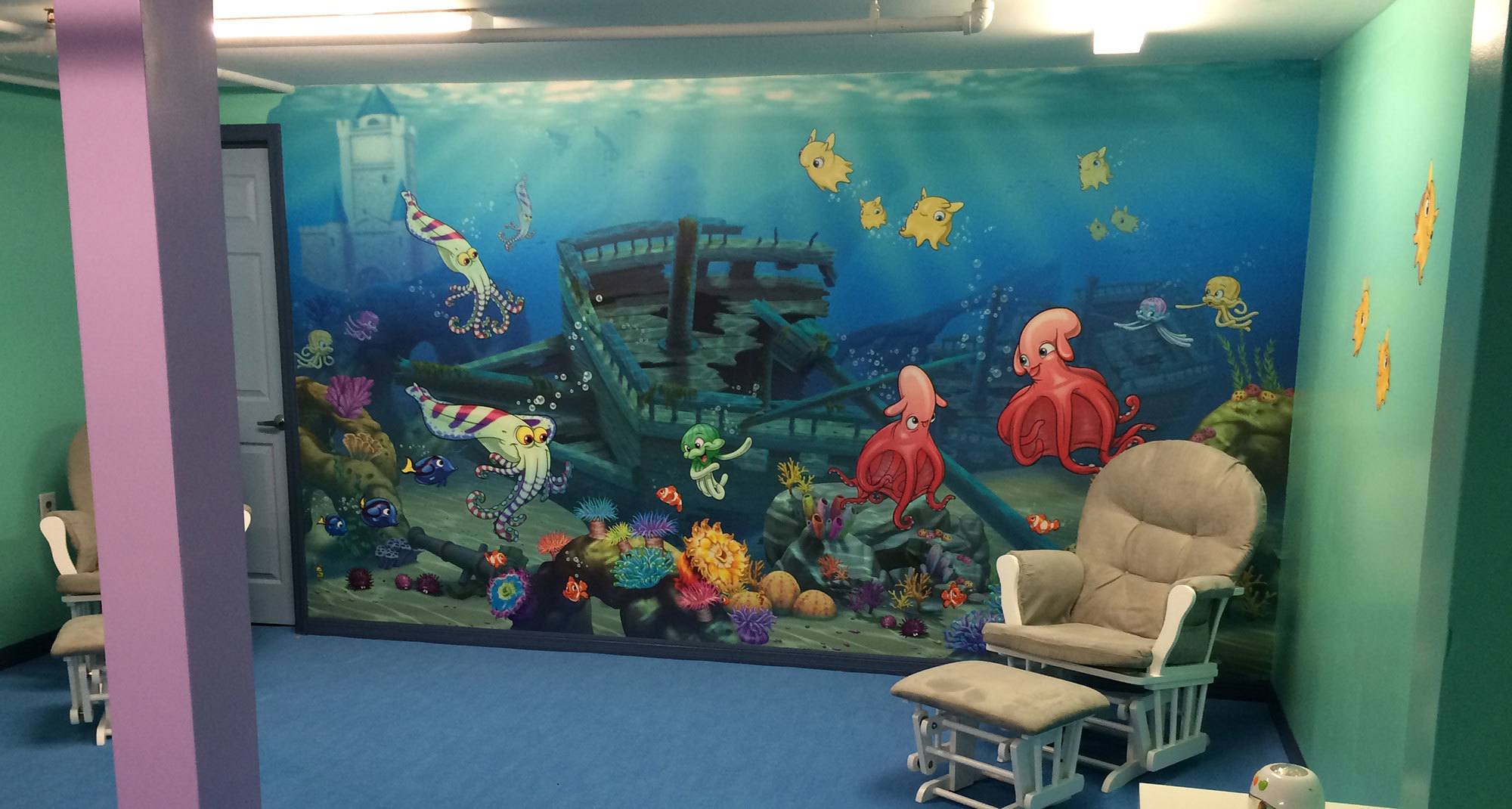 Undersea Themed Wall Covering in Nursery at Relevant Church Tampa