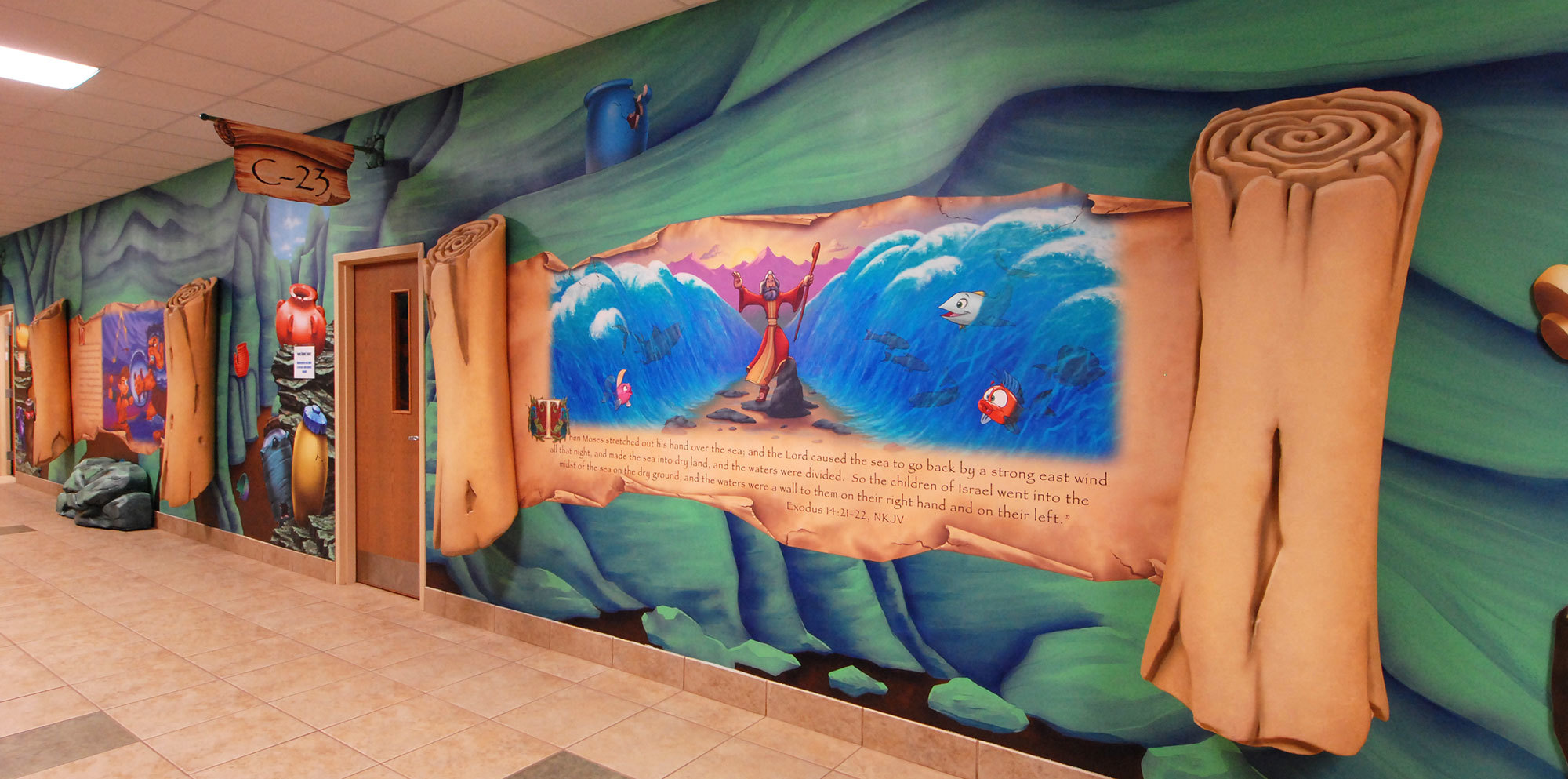 Bible Scrolls Themed Environment at Calvary Chapel