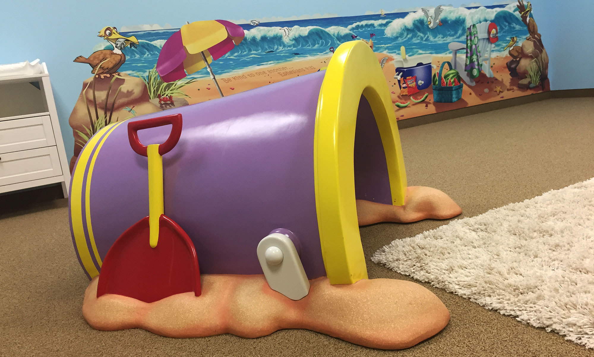 3D Sculpted Sand Bucket Pail for Beach Theme at New Walk Church