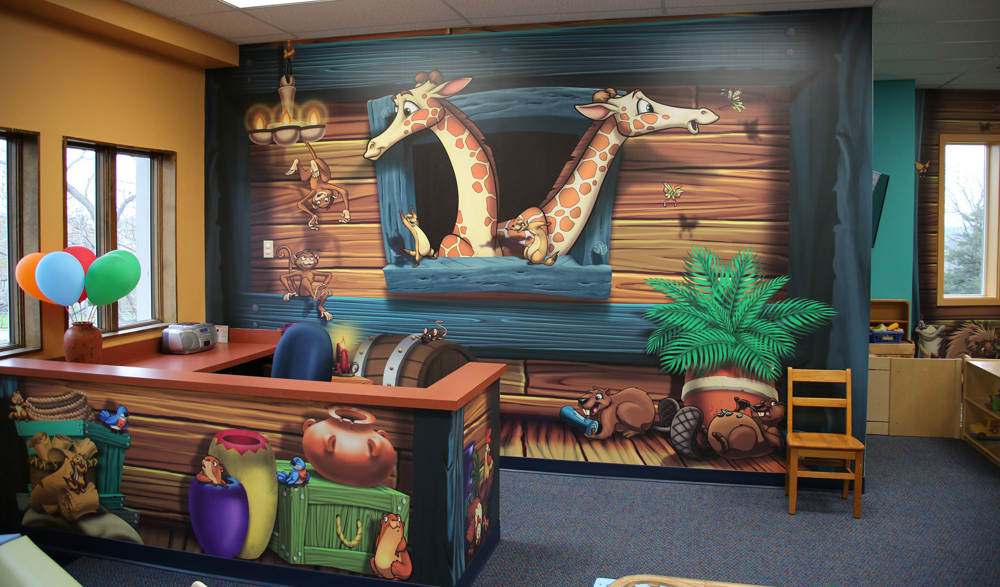 Noah's Ark Themed Wall Covering in Nursery at Presbyterian Church of Stanley