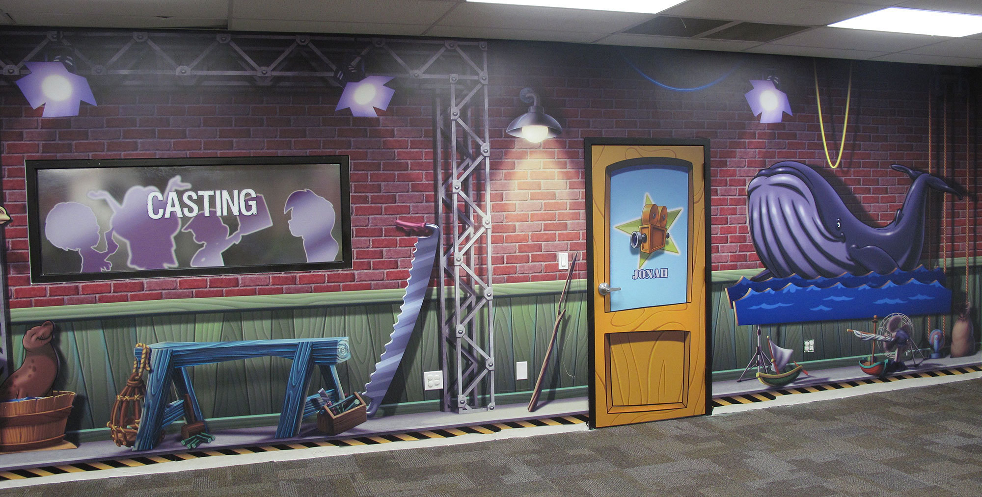 Backlot Studios Themed Wall Covering at Victory Church TX