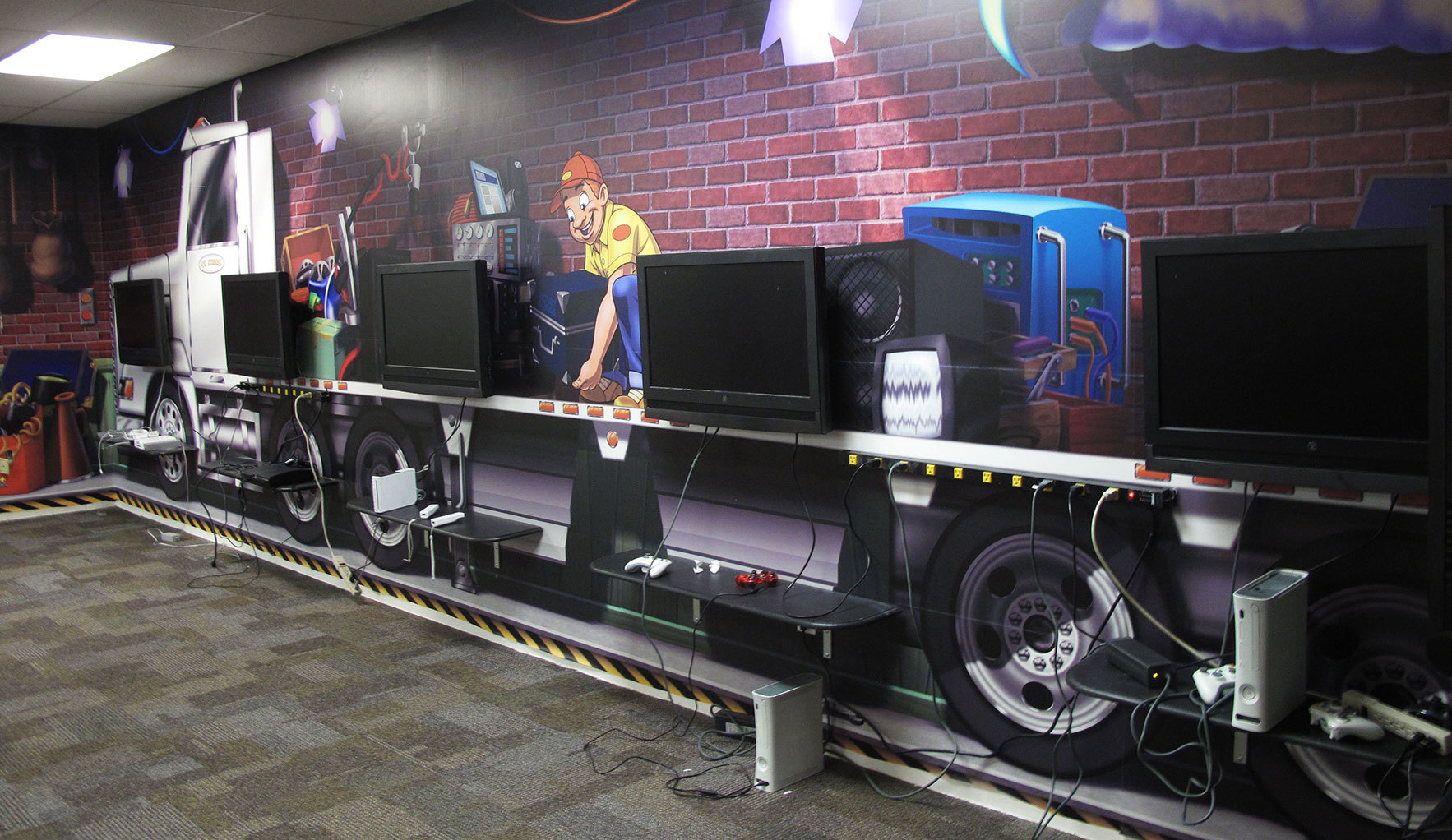 Delivery Truck Themed Gaming Station at Victory Church TX