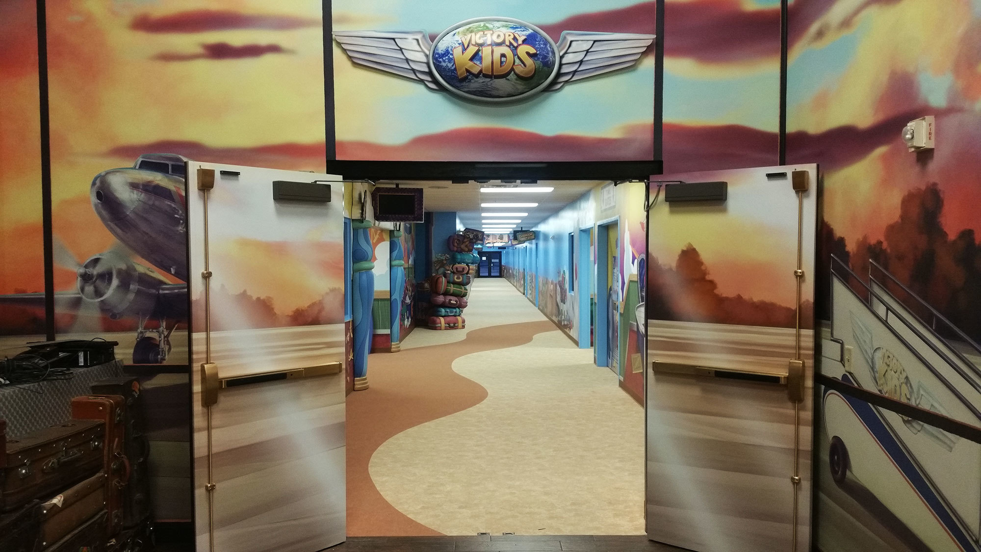 Airport and Travel Themed Environment at Victory Church Ohio