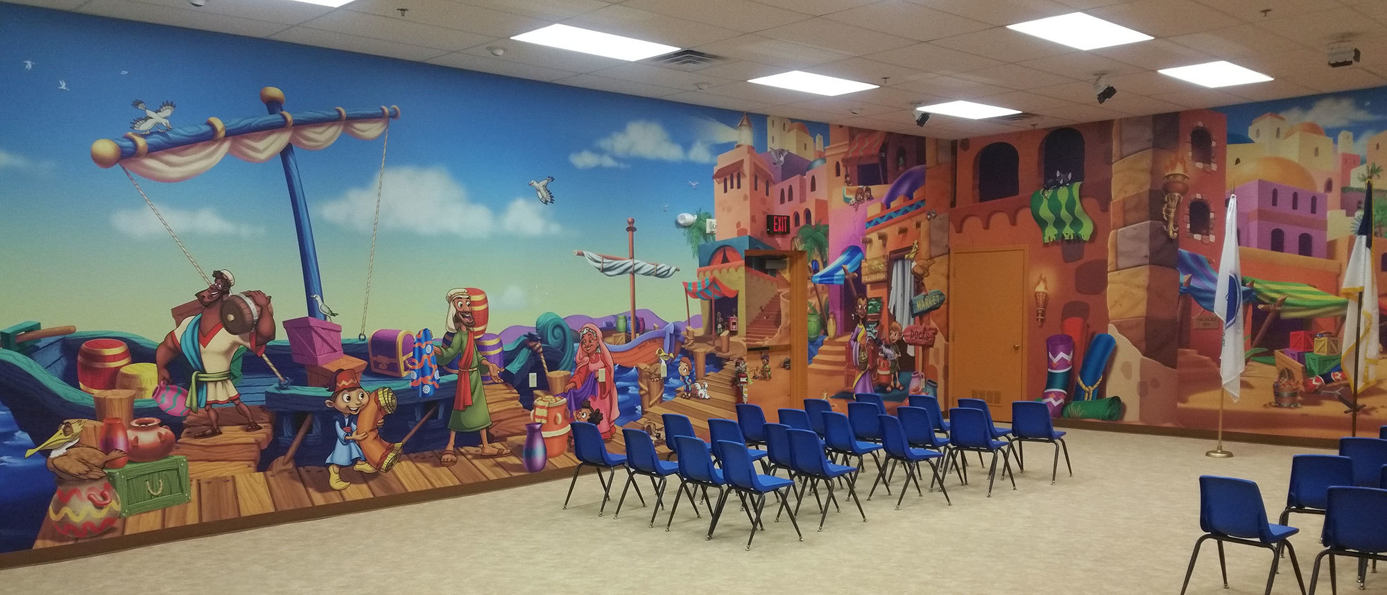 Biblical Themed Wall Covering at Victory Church Ohio