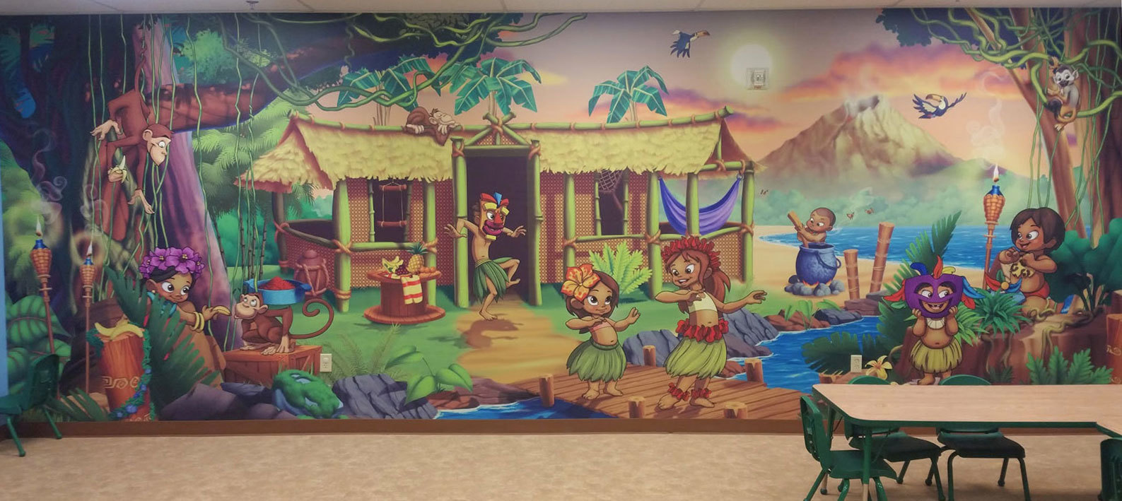 Polynesian Island Themed Wall Covering at Victory Church Ohio