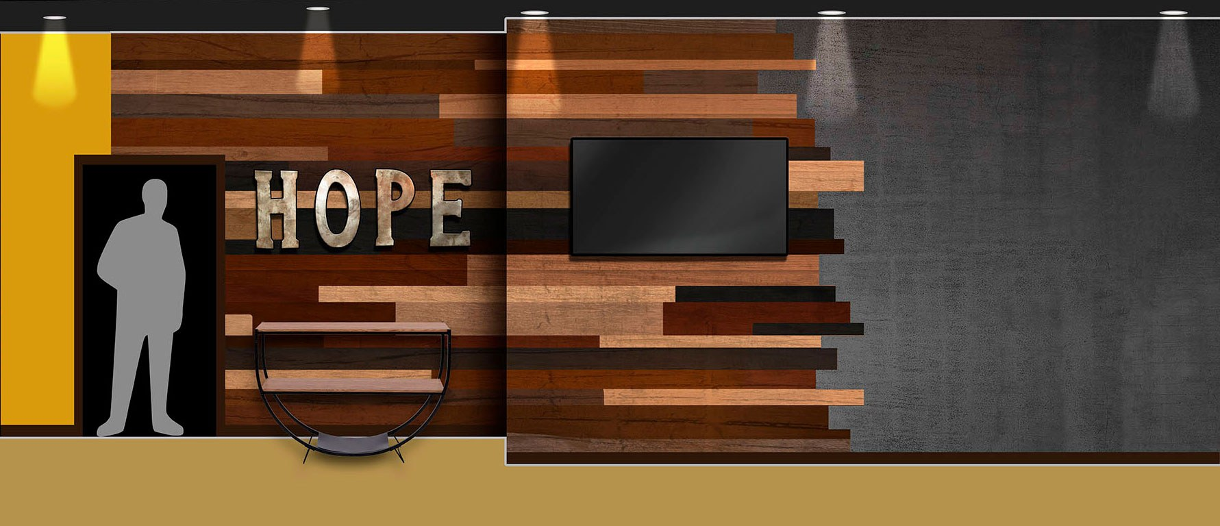 Modern Word and Mix-Matched Wood Planks Concept Wall Art