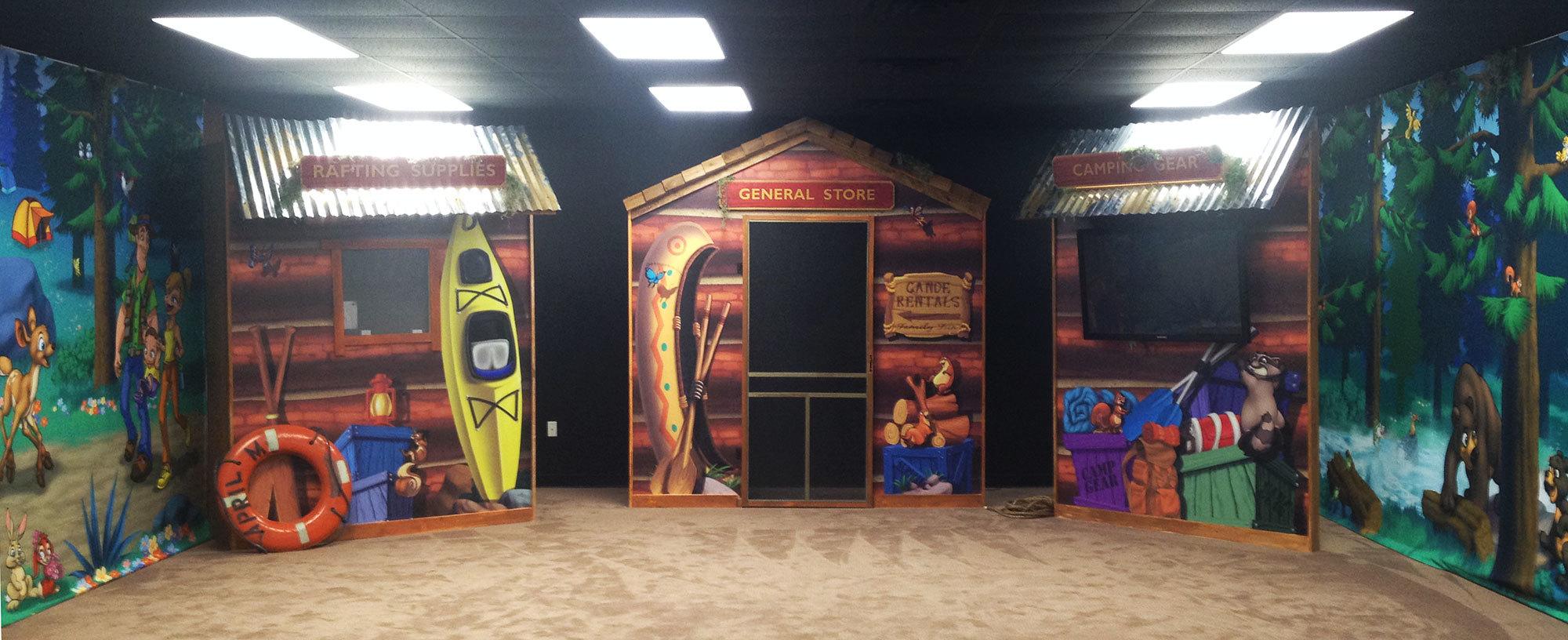 Camping and Lodge Themed Fascades at a Church
