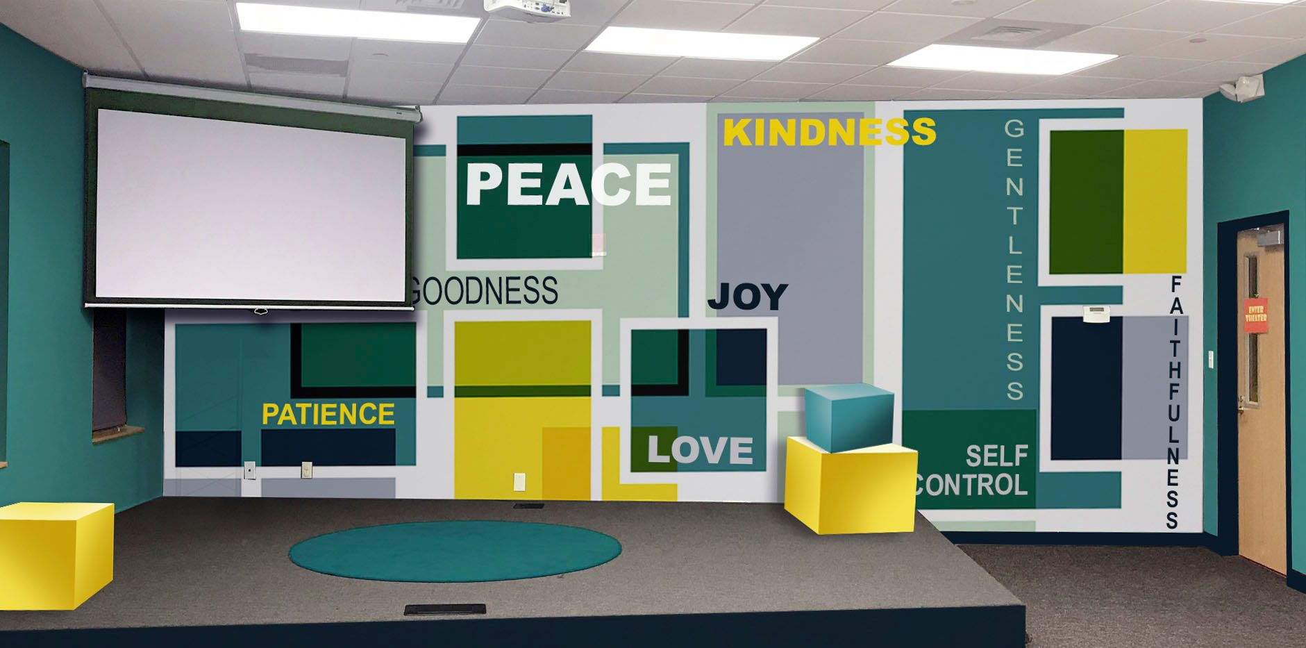 Modern Words and Boxes Concept Wall Art