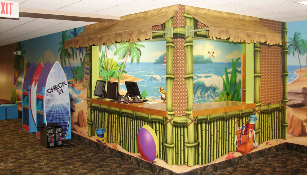 Beach Tiki Hut Themed Check In Desk