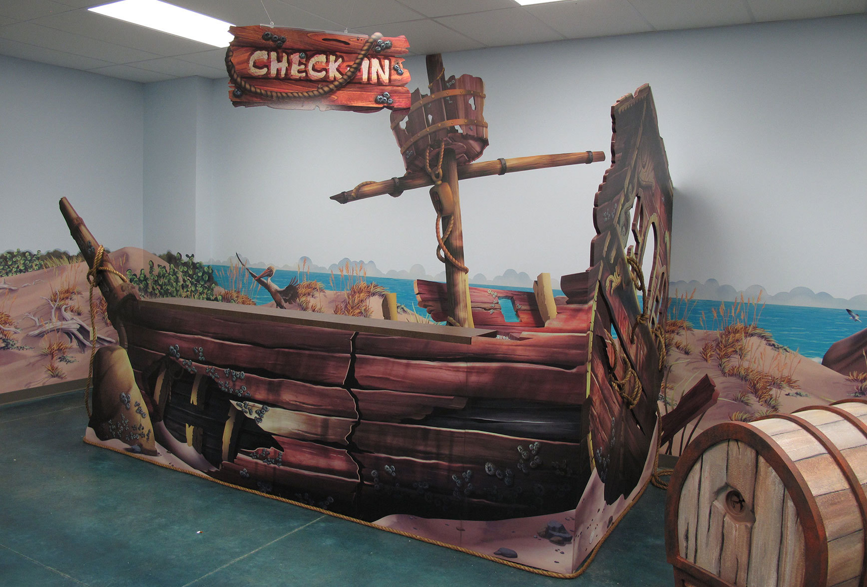 Beach & Wrecked Ship Themed Check In Desk