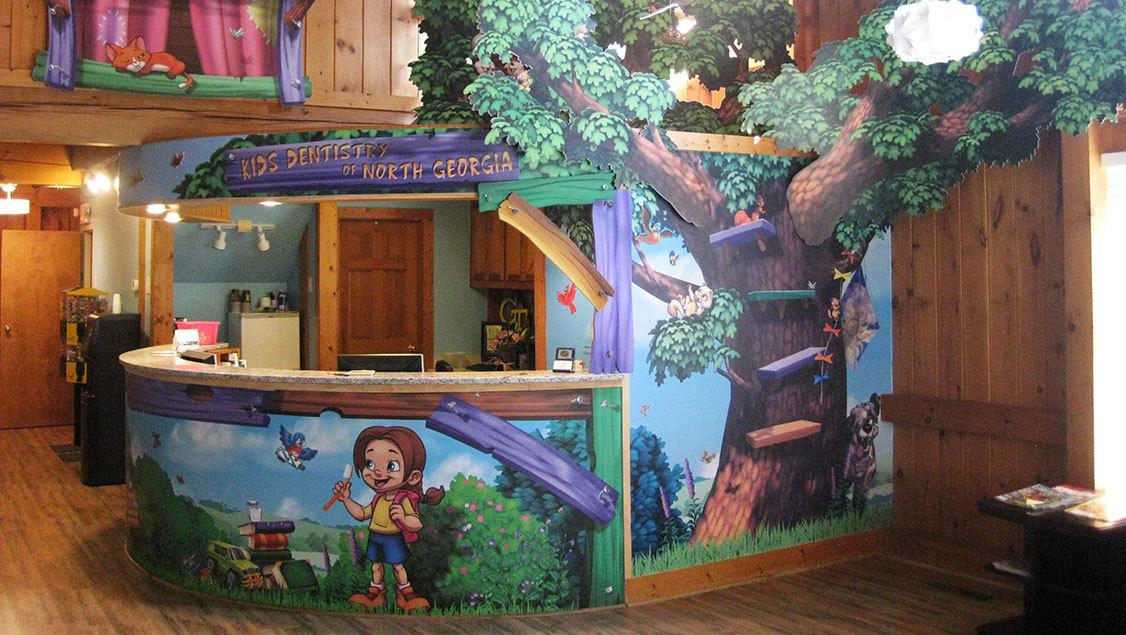 Neighborhood Treehouse Themed Check In Desk
