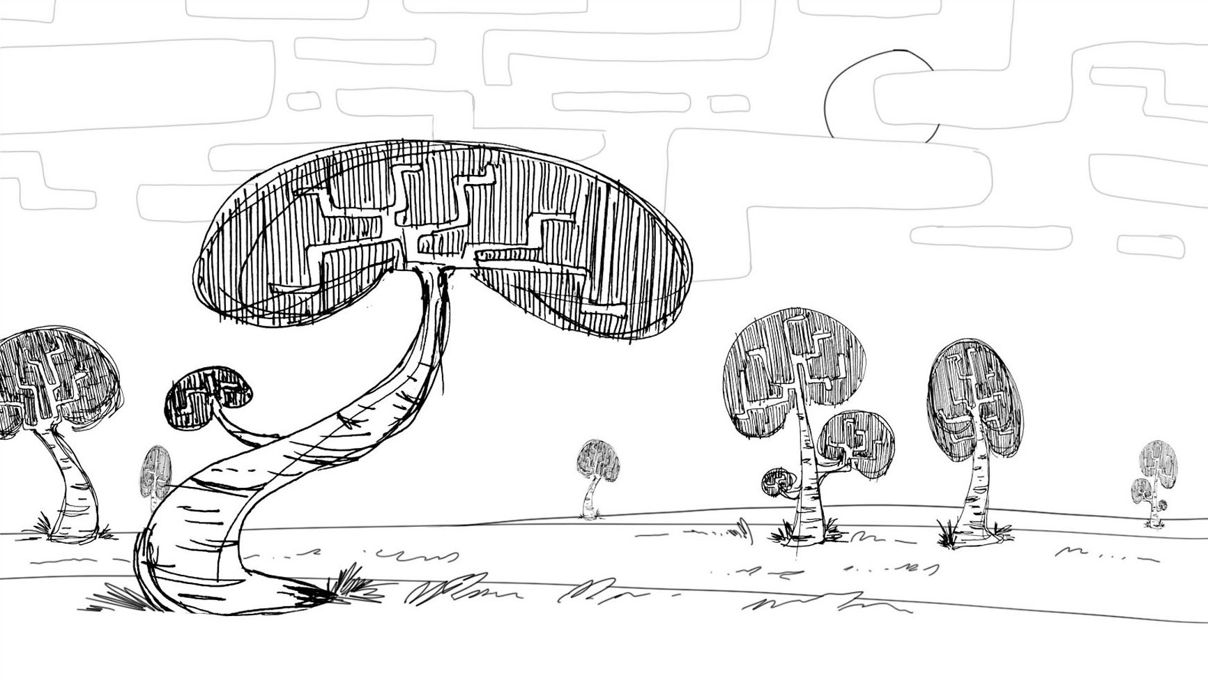 Modern Pencil Sketching of Odd Trees Concept Wall Art