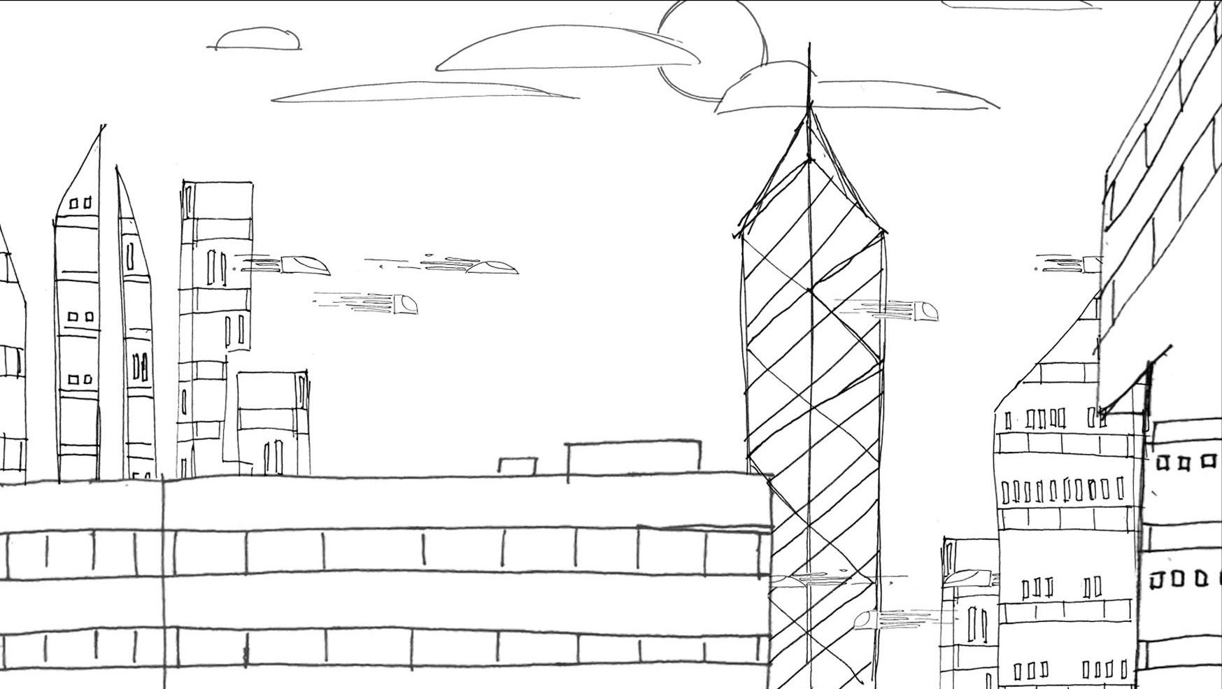 Modern Pencil Sketching of Big City Concept Wall Art