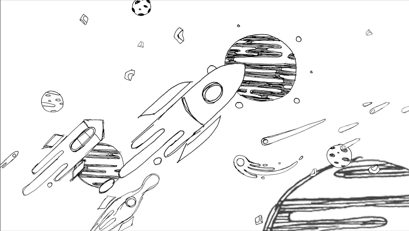 Modern Pencil Sketching of Outer Space Concept Wall Art