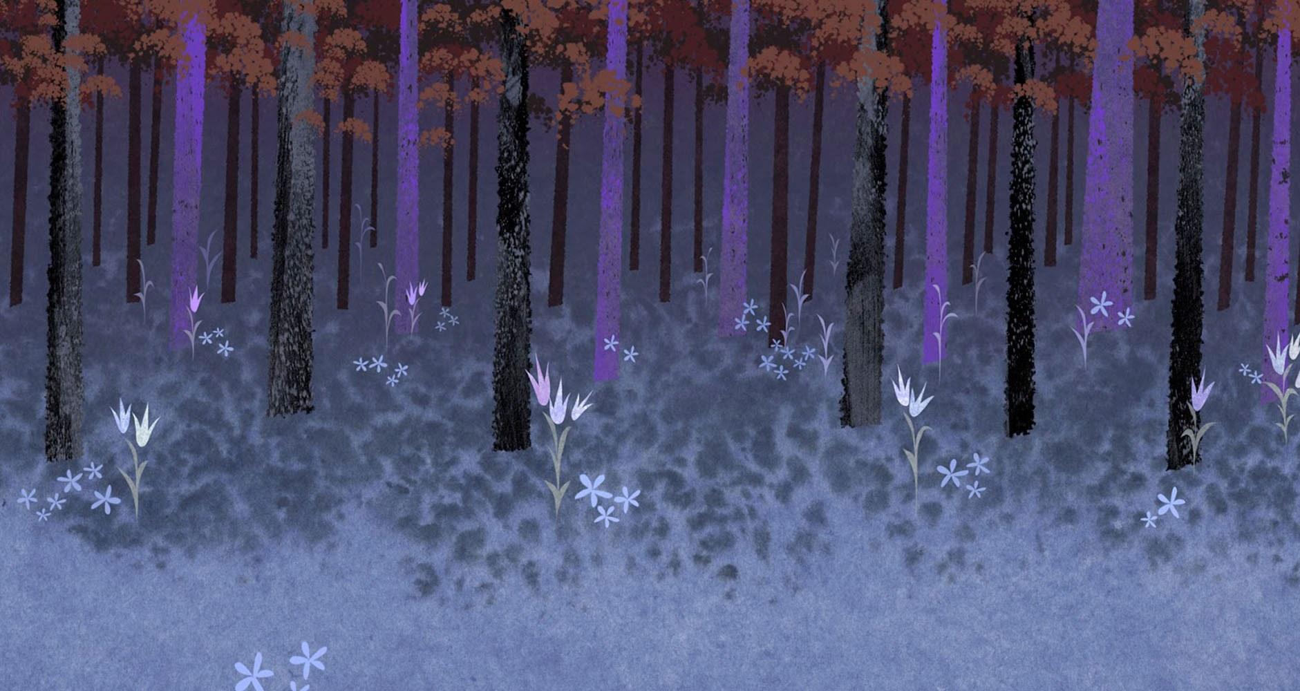 Modern Frozen Enchanted Forest Fall Winter SceneConcept Wall Art