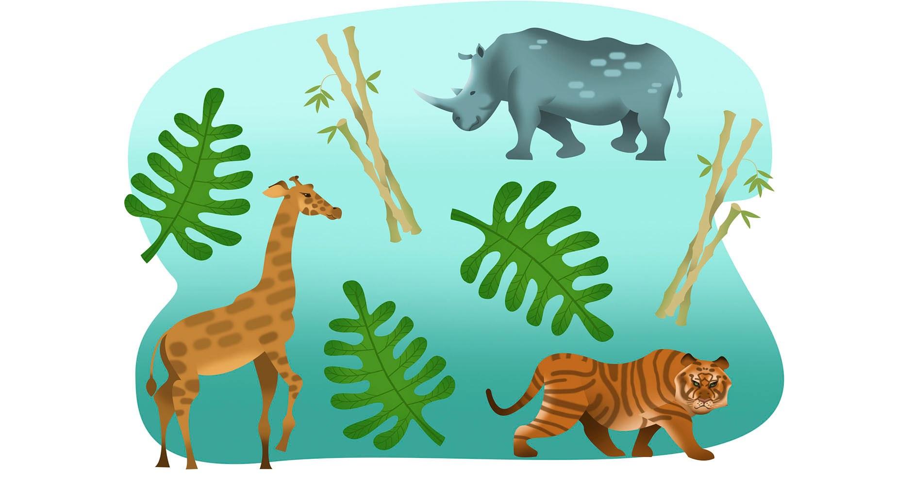 Modern Jungle Animals Collage Concept Wall Art