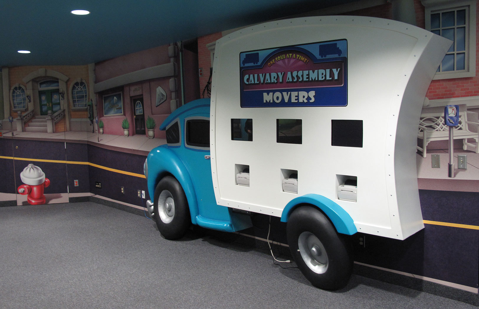 Delivery Truck Check In Kiosk and Gaming Station in Big City Toon Town Themed Space