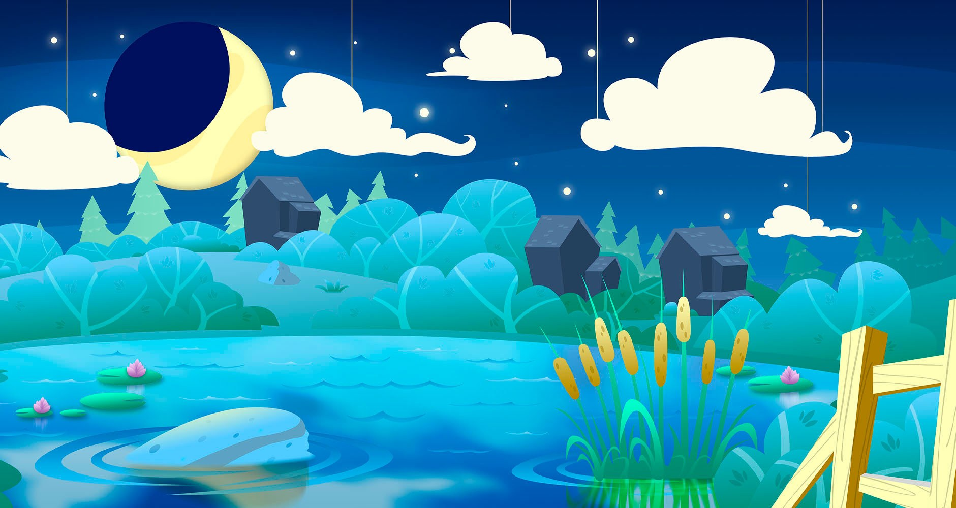 Modern Calico Countryside at Night Concept Wall Art