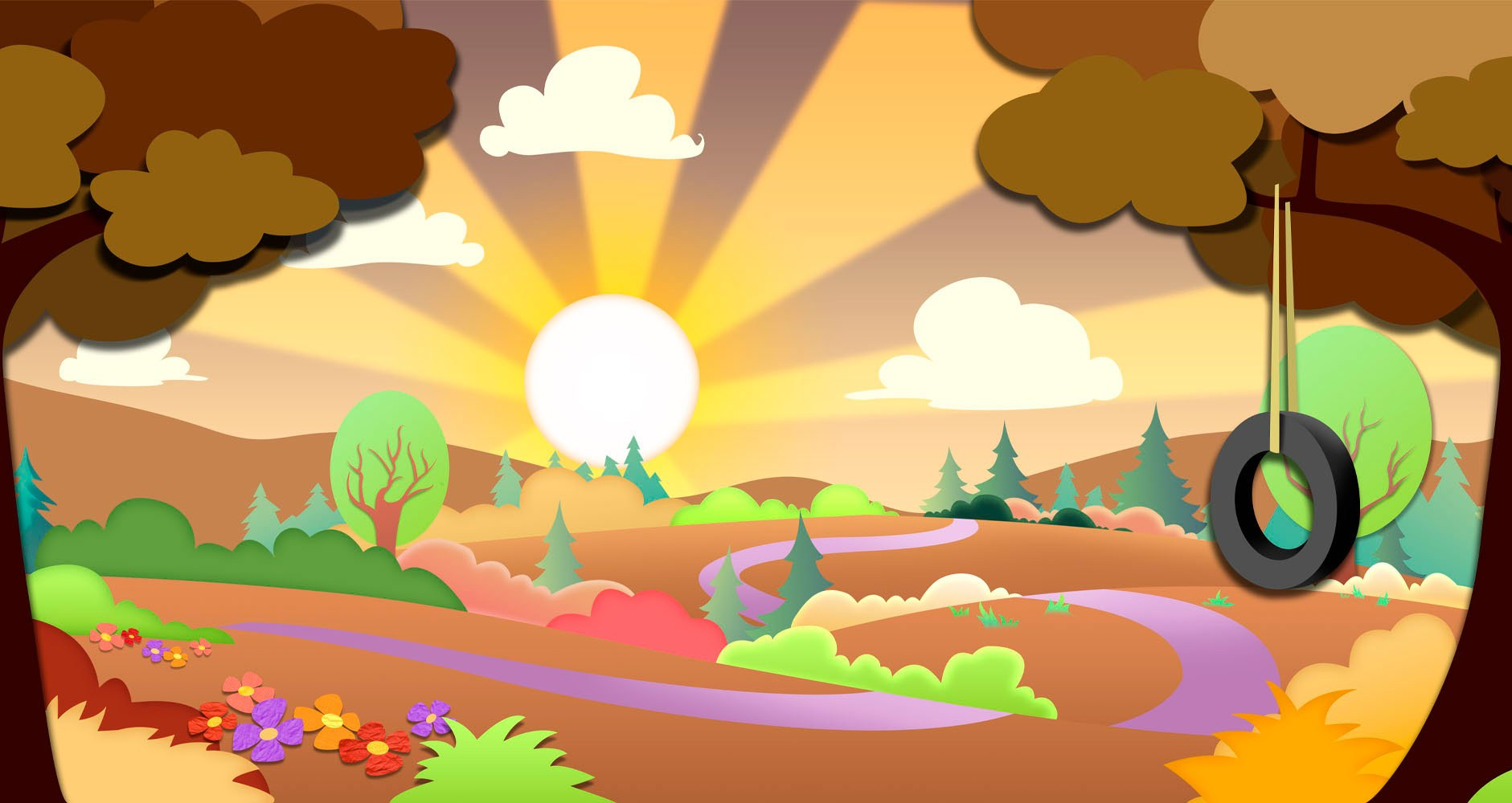 Modern Calico Countryside Sunset Concept Wall Art