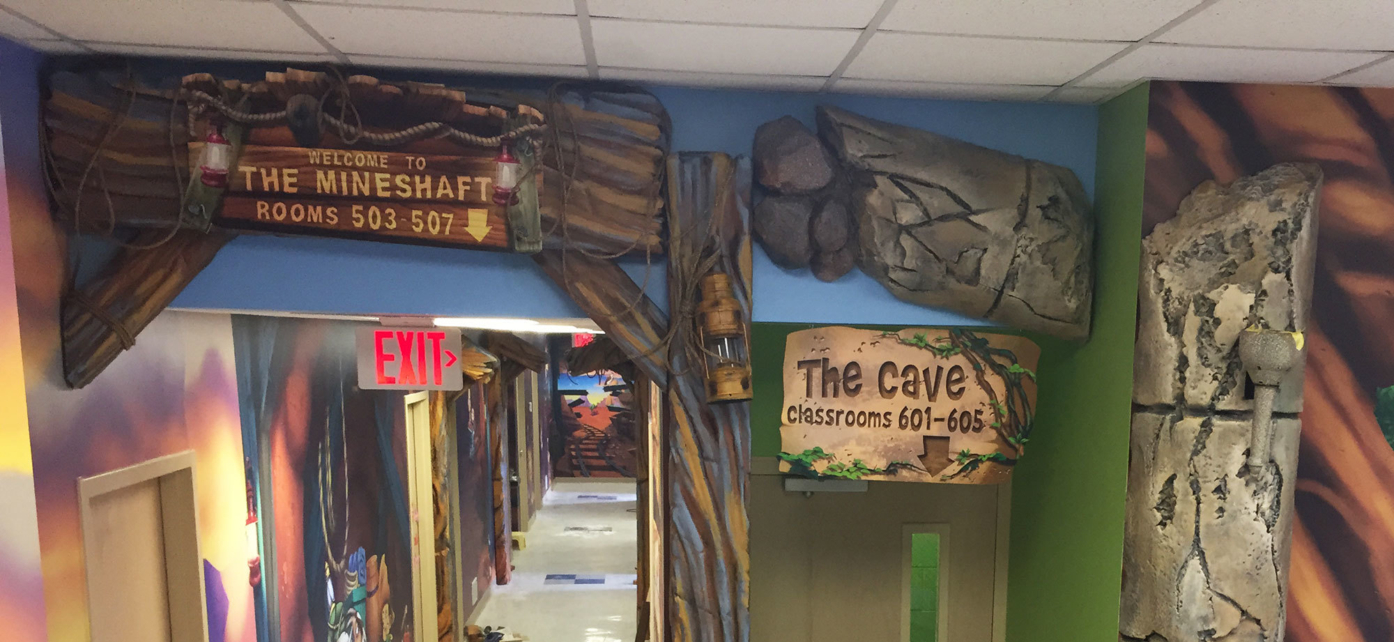 Examples of Mineshaft and Cave Themed Signs at a Church