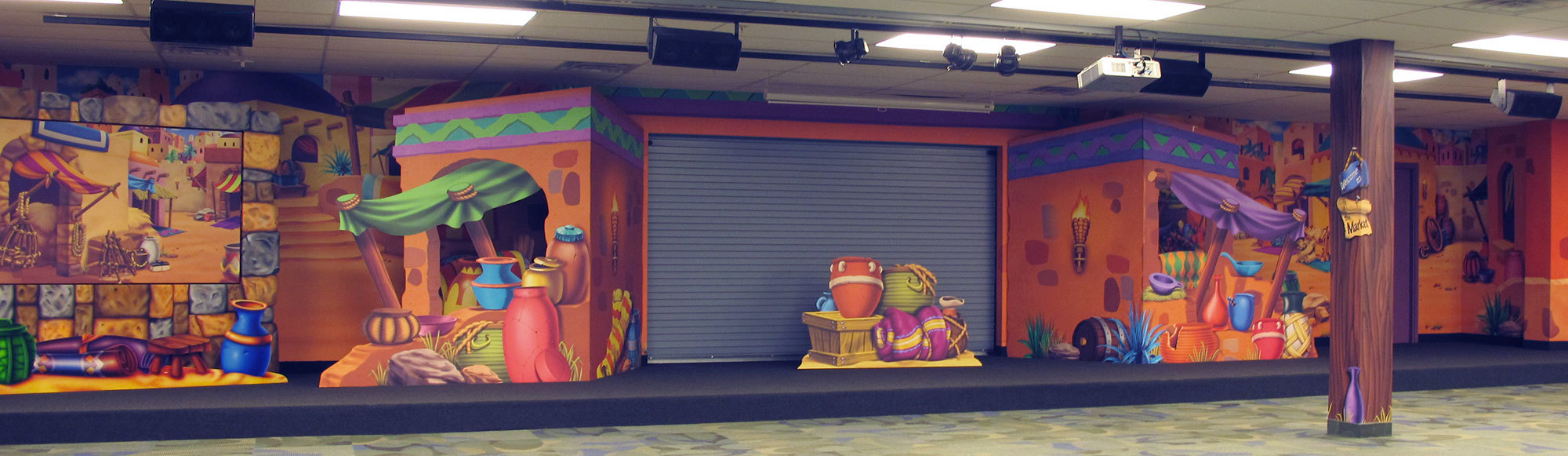 Biblical Market Themed Stage with 2D Cutouts