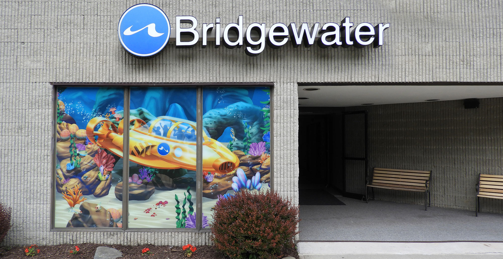Undersea Themed Window Vinyl at Bridgewater Church from the Outside