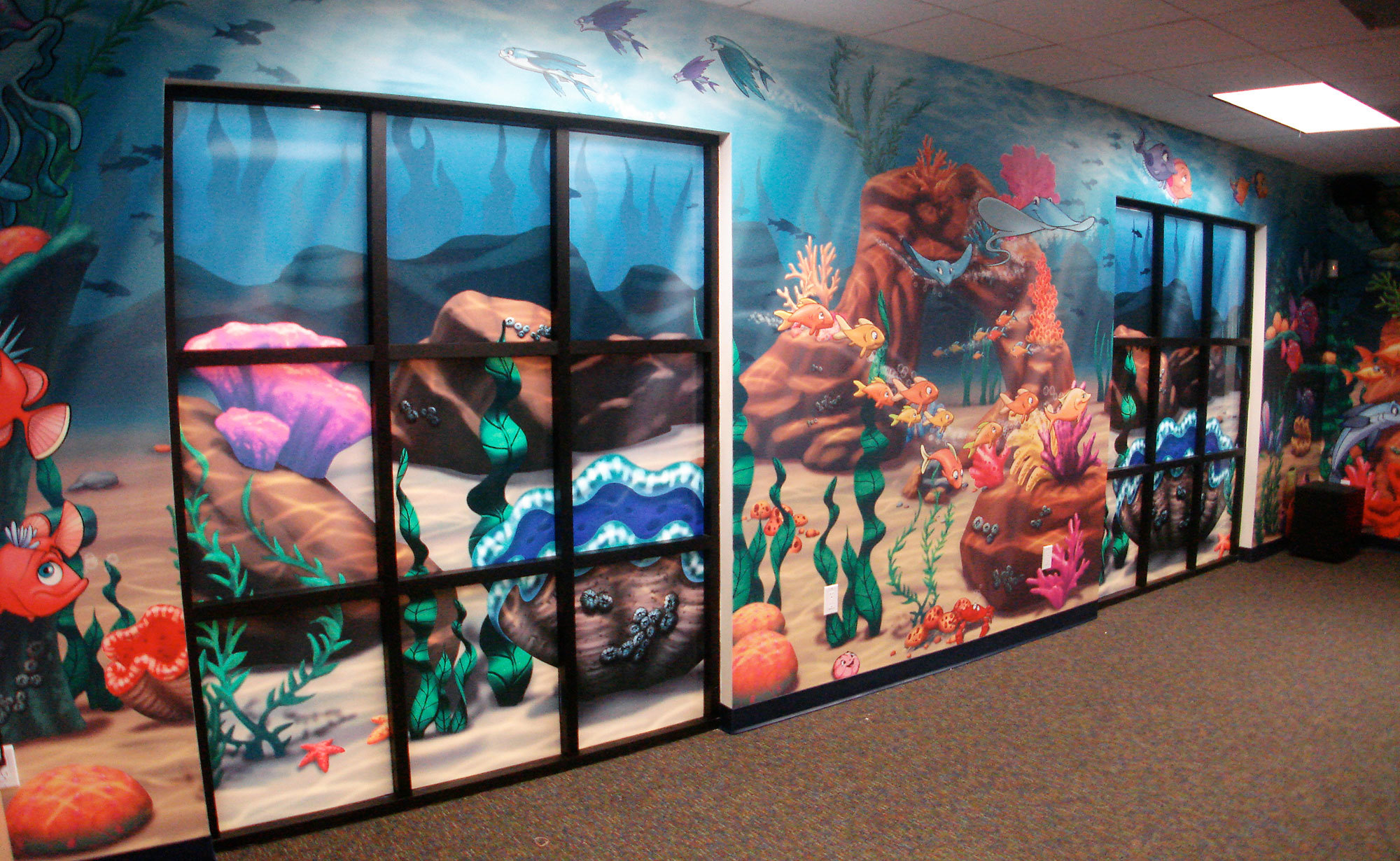 Example of Undersea Themed Window Vinyl with Wall Covering at a Church