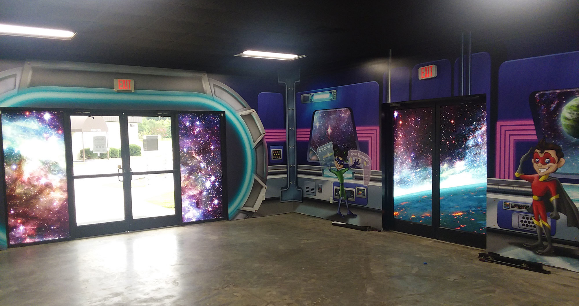 Example of Window Vinyl in a Space Themed Space at a Church